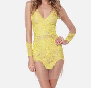 Yellow nude lace detail mesh dress