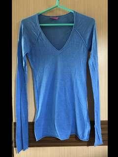 免運費❗️正品 BCBG 藍色 水藍色 棉質 V領 柬埔寨製 針織上衣 長袖 長版