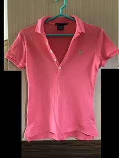免運費❗️正品 Ralph Lauren Polo 桃色 粉色 polo衫 尼加拉瓜製 綠色 刺繡 小馬 100%純棉 短袖 立領 V領 上衣 運動衣 側邊 開衩 前短後長