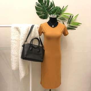 Long plain dress mustard