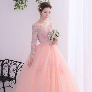 Pre order Muslimah long sleeve peach pink ball wedding bridal prom dress gown  RBMWD0174