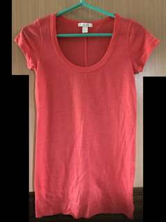 免運費❗️正品 dELiAs 橘色 橘紅色 圓領 短袖 超涼感 長版 上衣 薩爾瓦多製 棉質