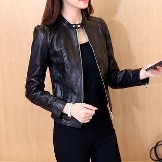 (S~3XL) 2018 motorcycle leather jacket short pu leather jacket collar collar leather jacket