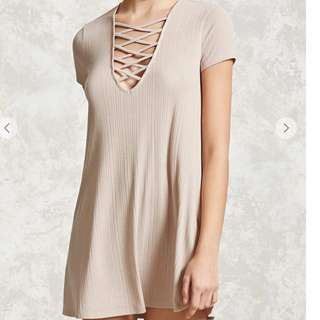Forever 21 nude tan lace up front T-shirt dress