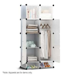 10 Cube DIY Storage Cabinet Wardrobe  White 55L Large Volume