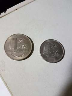 Old Coins - Malaysia 5 Ringgit & $ 1 -