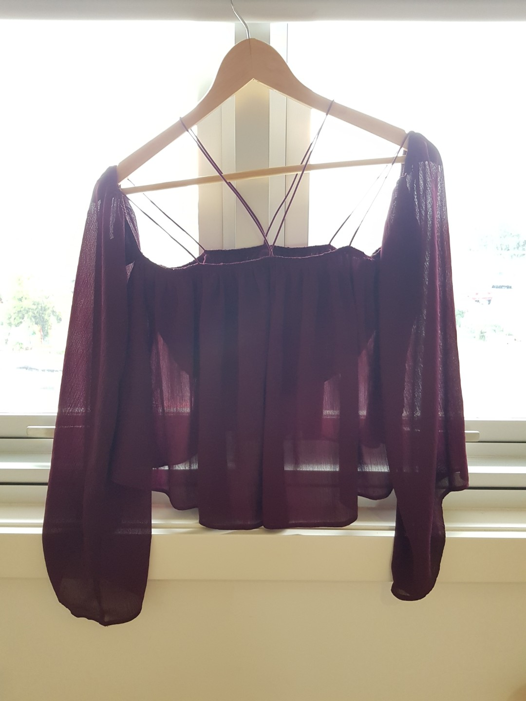 Ally off shoulder top with cross over detail xs
