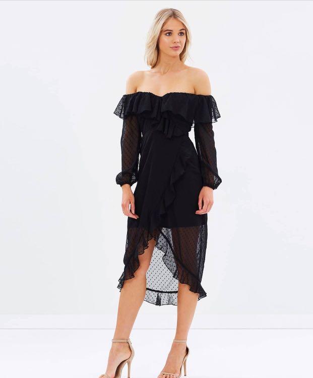 Atmos & Here black off-shoulder frill dress