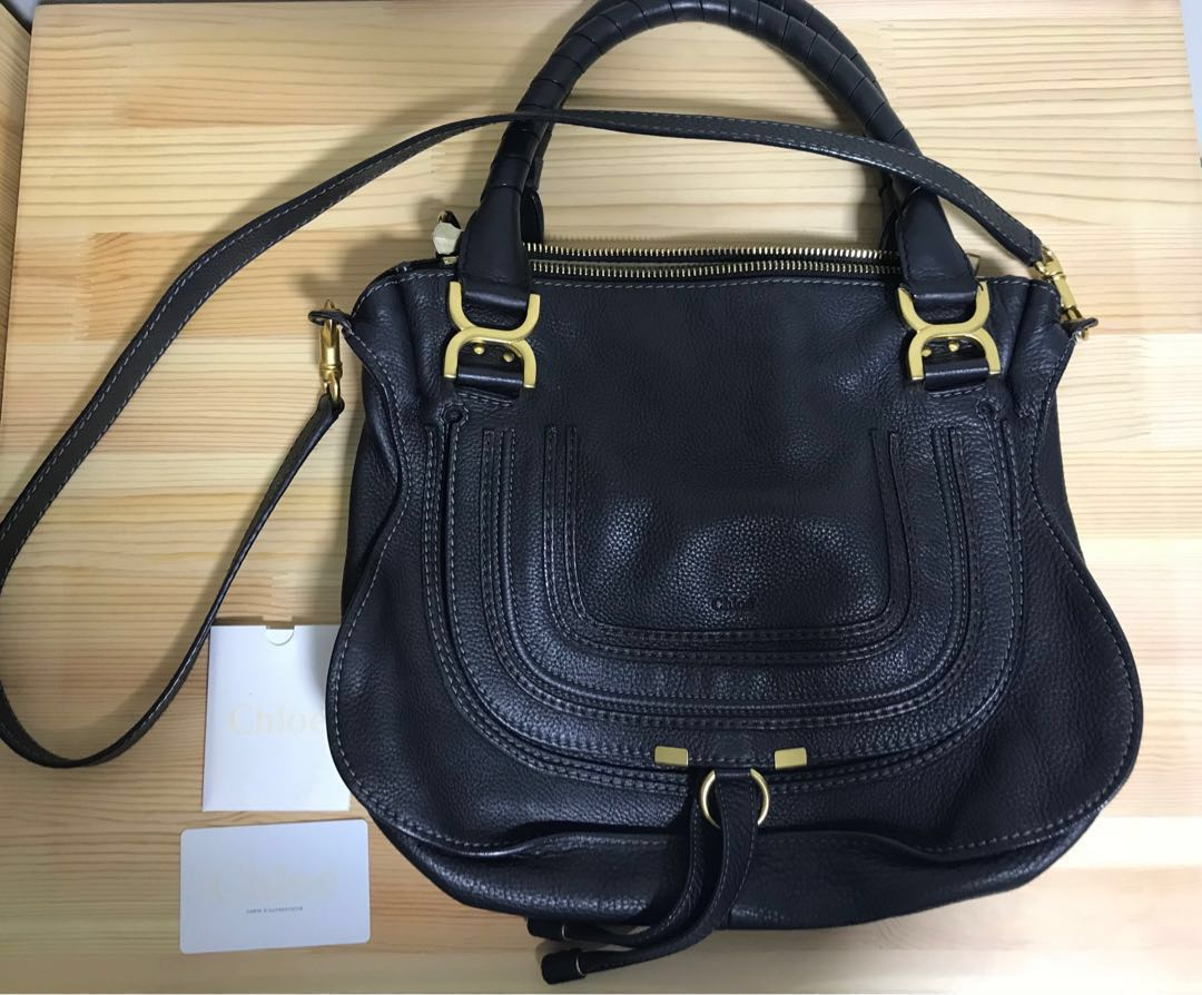 2443f1399a4 Authentic Genuine Chloe Marcie black medium leather tote with long ...