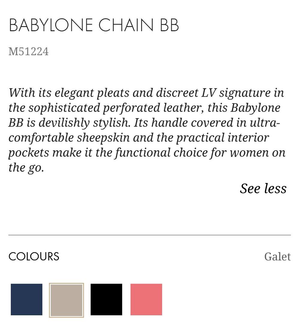 AUTHENTIC NEW LV BABYLONE CHAIN BB