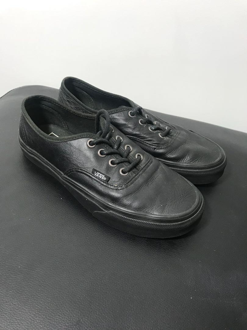 BLACK LEATHER VANS size 7 ebbd3ff57b62