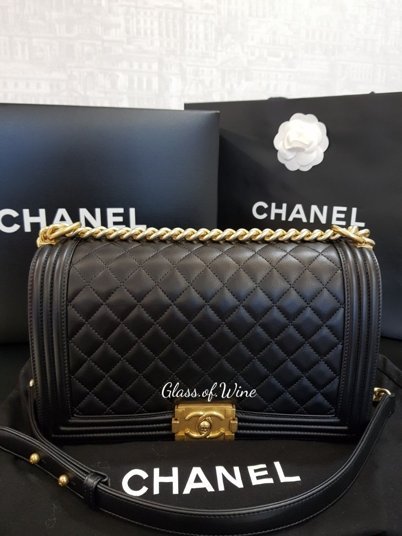 40d6e7018d83 Chanel Boy New Medium in Black Lambskin with GHW, Luxury, Bags ...