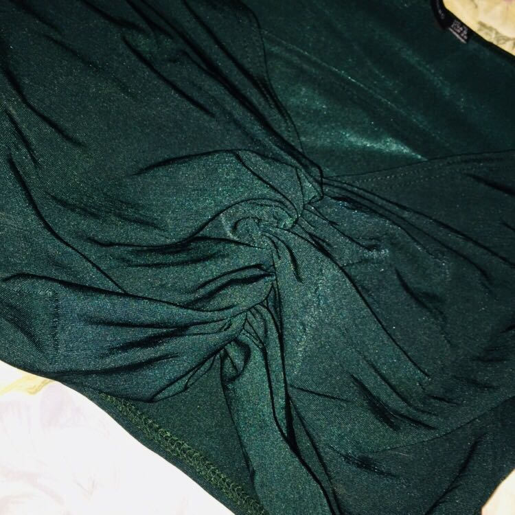 Green Ruched Crop Top