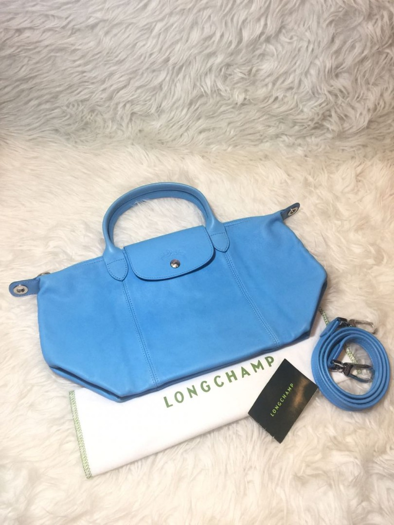 Longchamp Small Cuir Le Pliage Baby Blue In Very Good Condition Tas Slempang By Ina Collection Medan With Bag Strap And Dustbag Womens Fashion Bags Wallets On Carousell