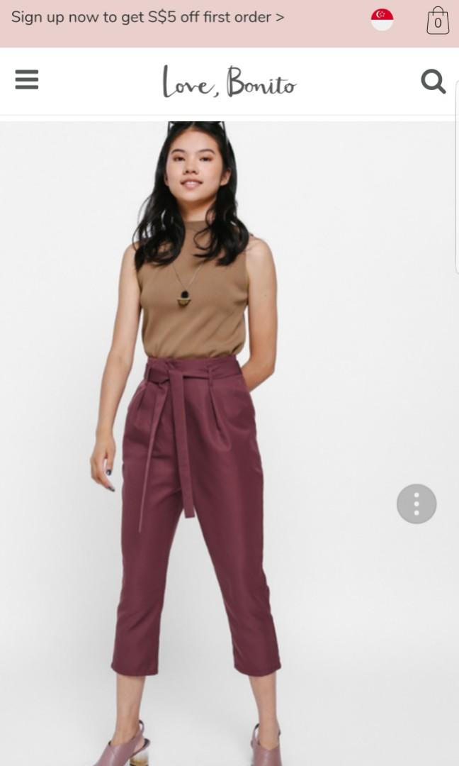 3e1724a82c0cb2 Love Bonito Pomera Sash Peg Leg Pants, Women's Fashion, Clothes ...