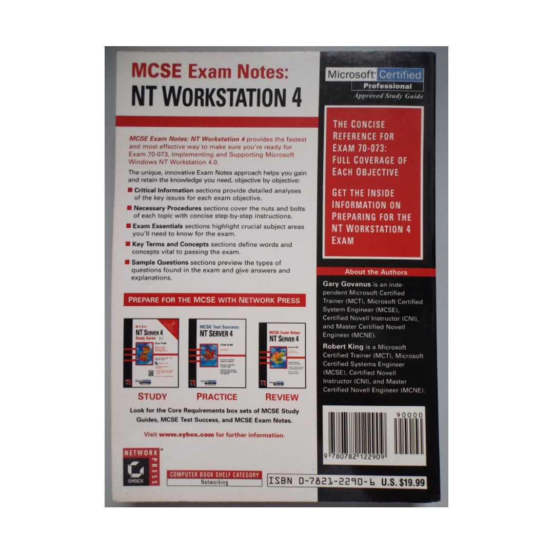 MCSE Exam Notes NT Workstation 4 Microsoft Certified Professional Approved  Study Guide