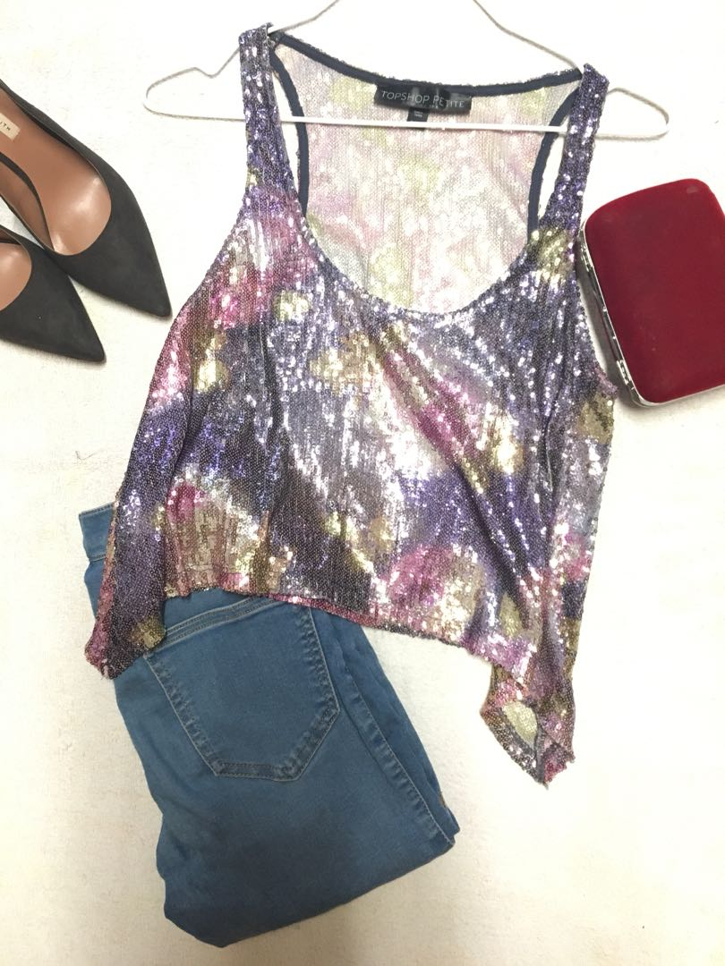 1aa5fae31fbe8f Multi coloured sequin crop top by Topshop Petite