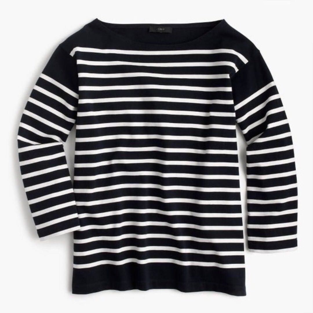 455c90233a4de9 NWT J CREW Placed Striped Boatneck Top T-Shirt Loose Fit Navy Blue ...