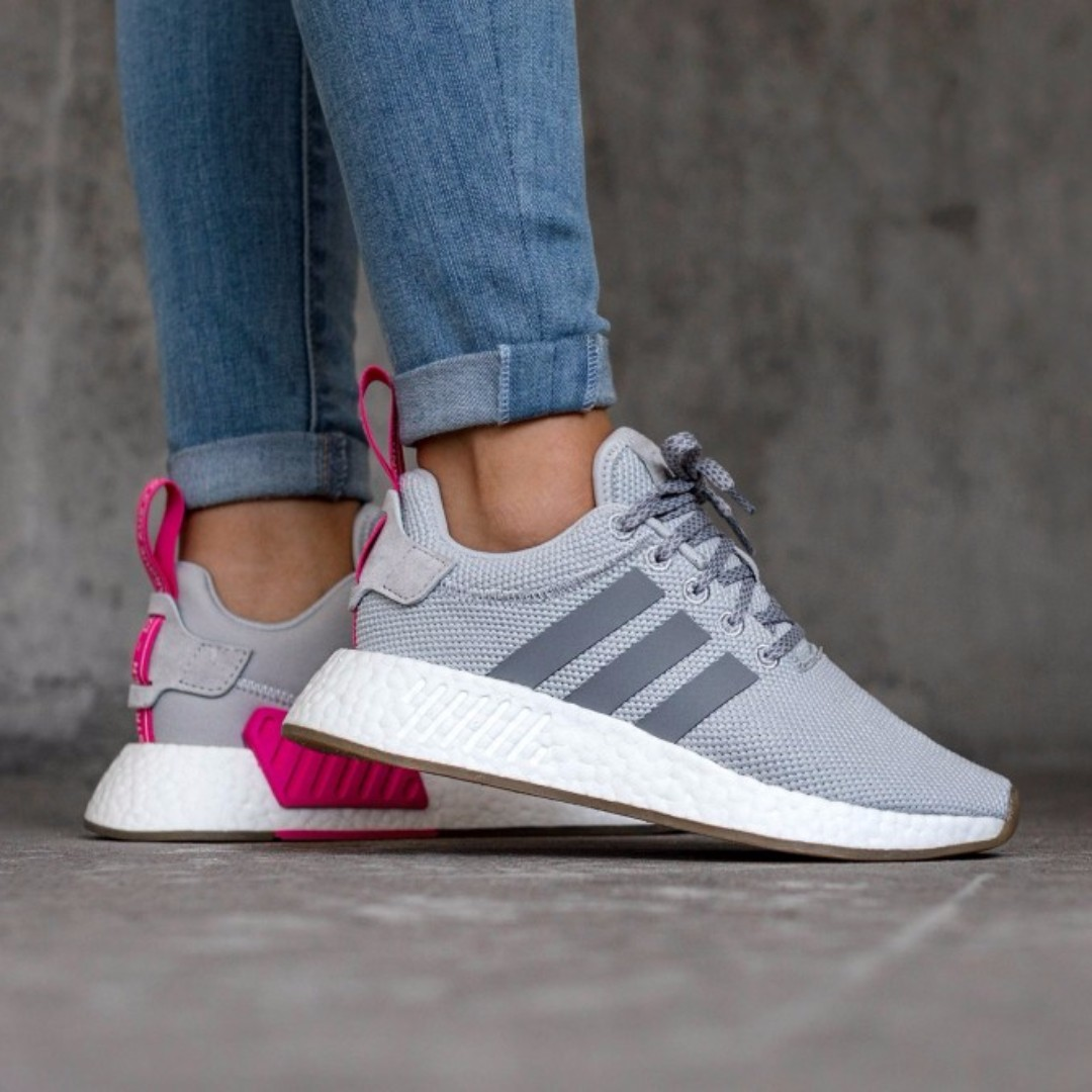 PO) Adidas Womens NMD R2 Textile Grey Hot Pink, Women's