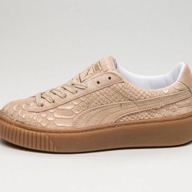 puma basket platform exotic skin