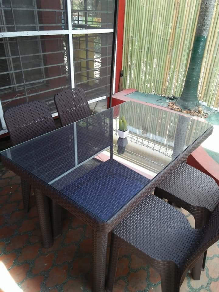 Rattan Plastic Table And Chairs Home Furniture On Carousell