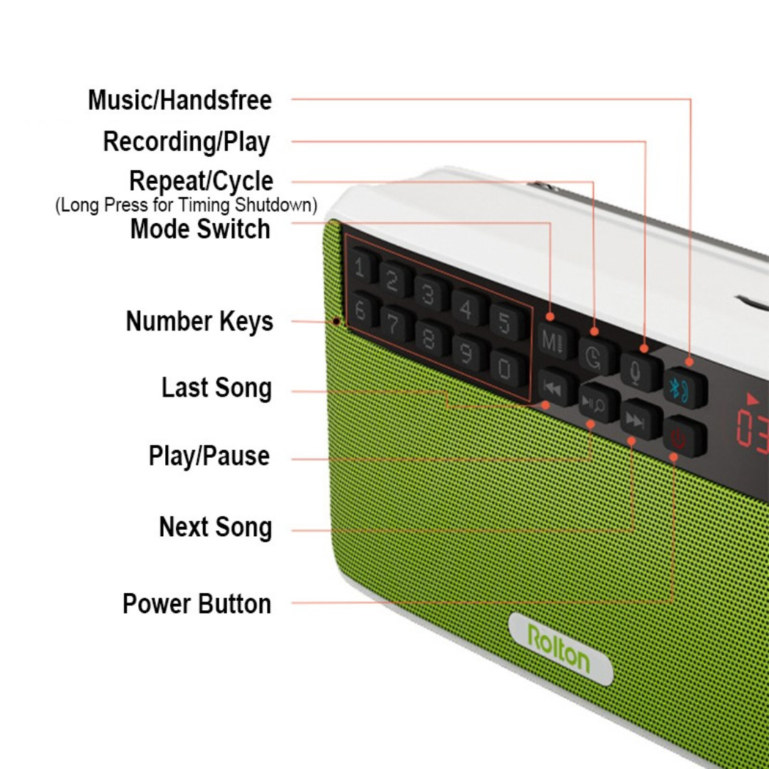 Rolton E500 Portable FM Radio Bluetooth Speaker, Electronics