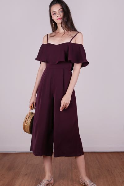 34b7b55191ff89 TTR LUCCA OFF SHOULDER JUMPSUIT (PLUM) XS, Women's Fashion, Clothes,  Rompers & Jumpsuits on Carousell
