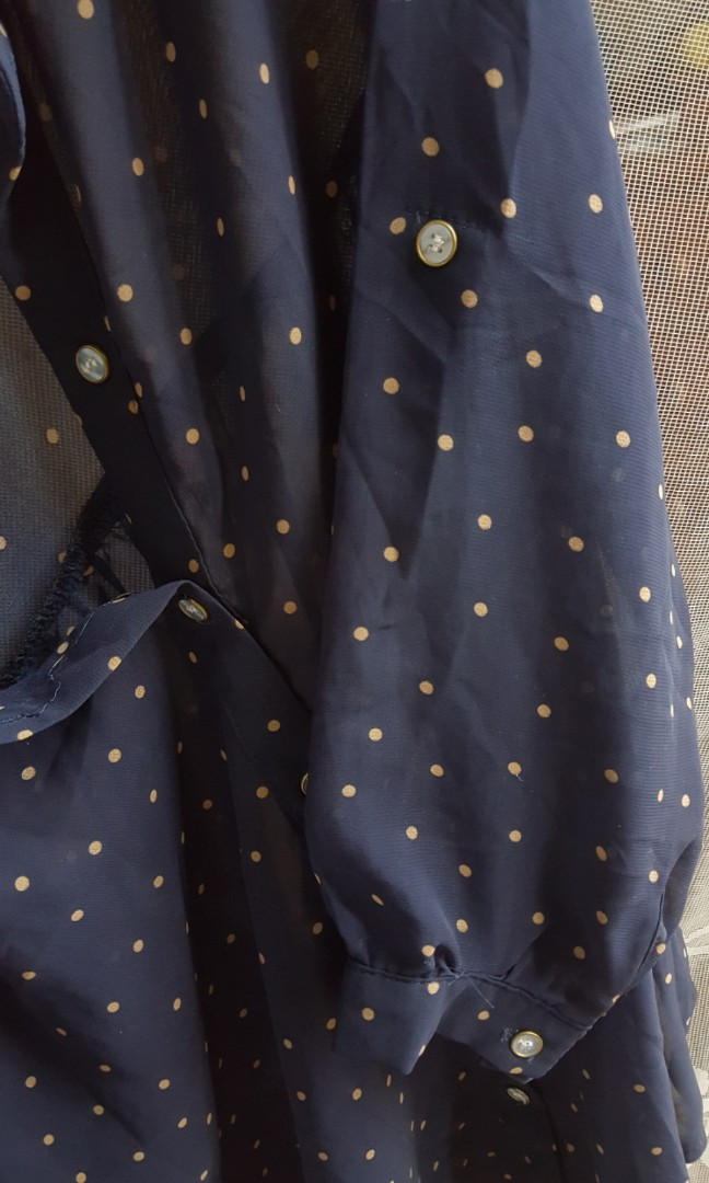 Vintage chiffon blouse dark blue with yellow polka dot