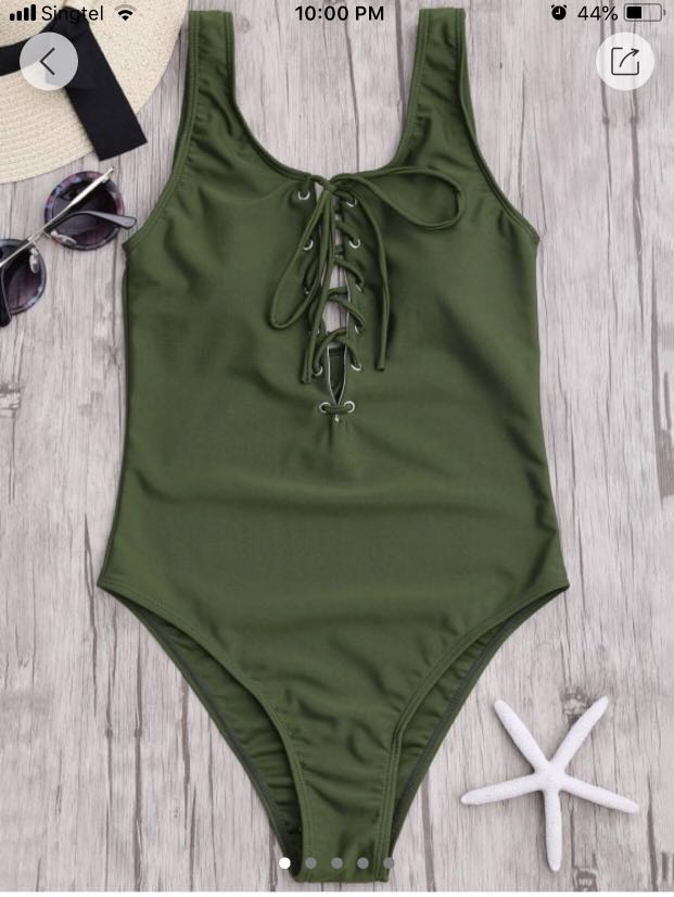 3e1e16de6820 Zaful Lace up One Piece Swimsuit, Women's Fashion, Clothes, Others ...