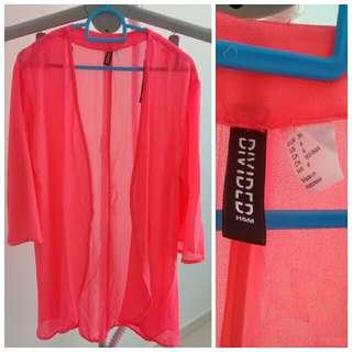 H&M neon fushcia pink cardigan