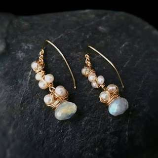 HANDMADE! Genuine Pearl Earrings 20176