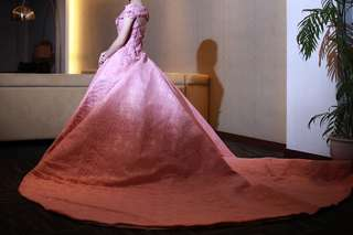 Rose pink long back gown for rent