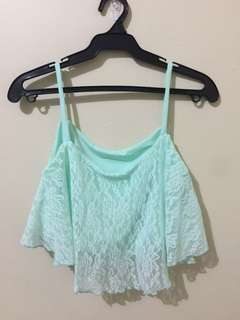 Green lace crop top