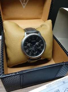 MENS GUESS WAFER WATCH W70016G1 Black Leather (Jam Tangan Kulit untuk Pria)