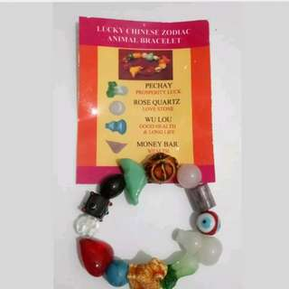 FA62 Lucky Chinese Year of the Goat Charm Bracelet (Rose Quartz, Pechay, Wu Lou)