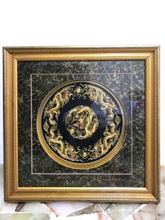 5 golden dragon embroidery picture