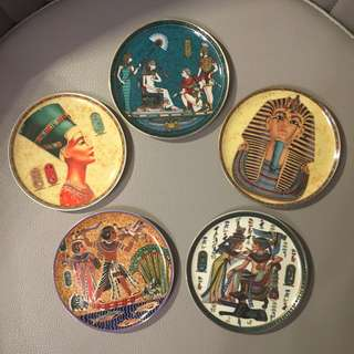 Vintage Egyptian Collectible Small Plates, Set of 5