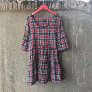 🚚 古著 可愛紅格紋短洋裝