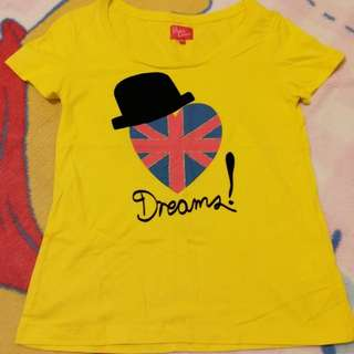 只限順豐到付s.f express only  不量度尺寸減價Baby dream@i.t 黃色心心tee t shirt