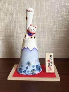 日本富士山招財貓(藍色=褔),申長手招廣範圍更遠,日本直送