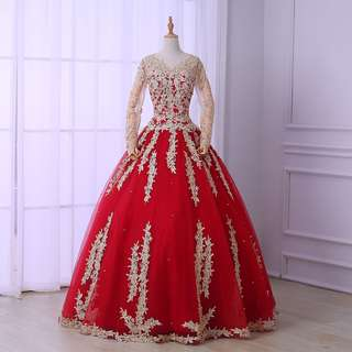 Pre order Muslimah long sleeve red gold ball wedding bridal prom dress gown  RBMWD0176