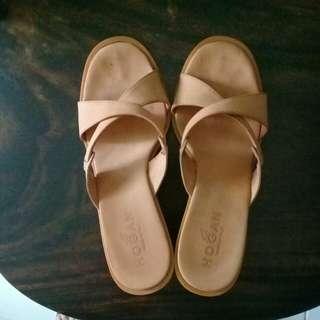 Hogan orange wedge heels