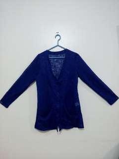 Blue Long sleeves cardigan