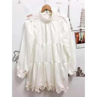 純白可愛長袖連衣裙