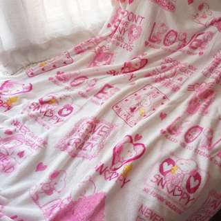 Pink snoopy flannel blanket