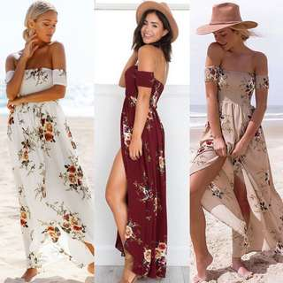 Off shoulder floral dress/ beach dress
