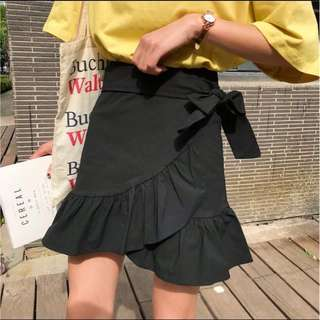 Black Ruffle Skirt with Bow