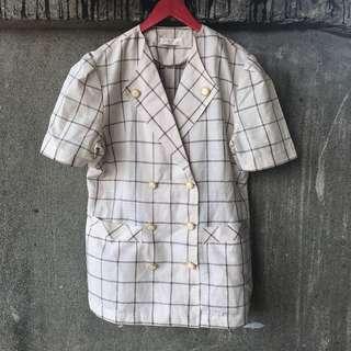🚚 古著 米色格紋雙排釦上衣外套