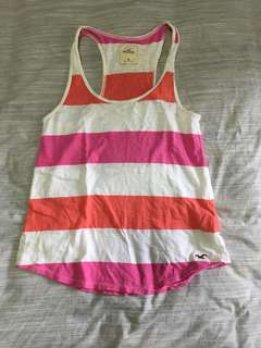 Women's pink white stripes tank top