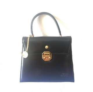 中古品 Versace 黑金 太陽神 Vintage Handbag Two Way 手挽兩用袋